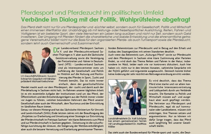Pressemitteilung: Verbände aus Pferdesport und -zucht im Dialog mit der Politik